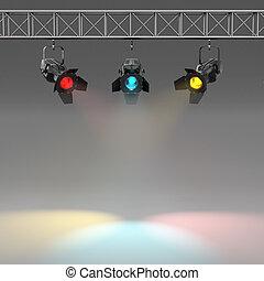 holofotes, espaço, texto, wall., multicolor, iluminado