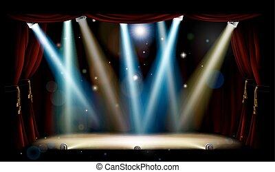 holofotes, teatro, fase