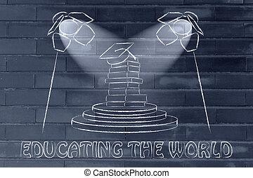 holofotes, world:, boné, foco, graduação, educando, livros, pilha, sob
