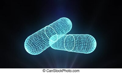 Hologram blue wireframe of rotating pharmaceutical two capsules isolated on black background with backlit. 3D rendering of drug. Closeup