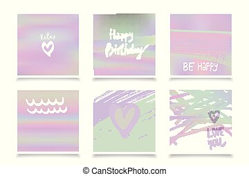 Hologram bright colorful backgrounds set. Vector mesh...