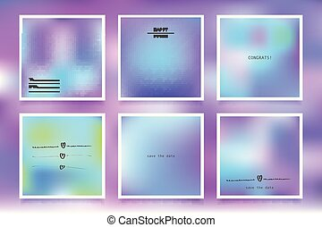 Hologram bright colorful backgrounds set. Vector mesh...