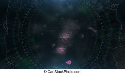hologram cosmic eye. a large number of flashing elements. cinematographic background. seamless loop.