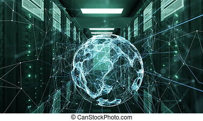 Hologram Earth Sphere Network Communications. Rows of Server Racks in Datacenter Looped 3d Animation. Business and Futuristic Technology Concept. 4k Ultra HD 3840x2160.