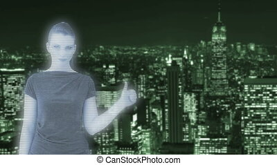 Hologram of a woman in front of New York