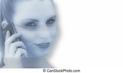 Hologram of a woman in front of white background