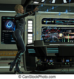 A young woman in command of operations on a spaceship uses a hologram to carry out maneuvers in space.
