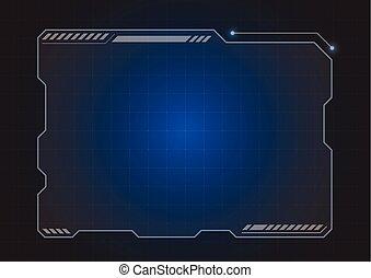 holograma, futurista, monitor