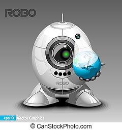 holograma, proyector, robot