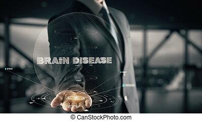 hologramme, homme affaires, maladie, cerveau, concept