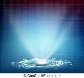 hologramme, interface., hud, futuriste, projecteur, ou