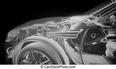 holographic, élénkség, közül, 3, wireframe, autó, formál, noha, gép