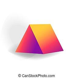 holographic, 三角, 勾配, -, 隔離された, 1(人・つ), 形, ベクトル, 背景, 幾何学的, 3d, 白, プリズム