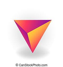 holographic, 勾配, 四面体, -, 隔離された, 1(人・つ), 形, ベクトル, 背景, 幾何学的, 白, 3d