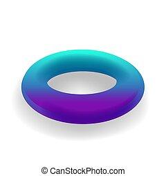 holographic, 勾配, 隔離された, ラウンド, 形, ベクトル, 背景, 白, 幾何学的, 3d