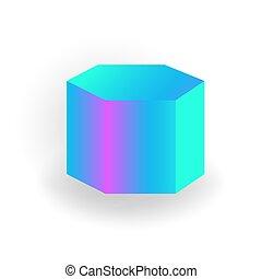 holographic, 勾配, -, 隔離された, 形, プリズム, ベクトル, 背景, 幾何学的, 六角形, 白, 3d