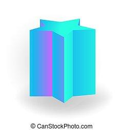 holographic, 勾配, -, 隔離された, 形, プリズム, ベクトル, 背景, 幾何学的, pentagram, 白, 3d