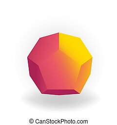 holographic, 勾配, -, 隔離された, 形, dodecahedron, ベクトル, 背景, 幾何学的, 白, 3d