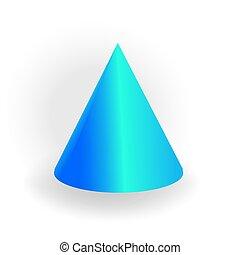 holographic, 勾配, -, 隔離された, 1(人・つ), 形, ベクトル, コーン, 背景, 幾何学的, 白, 3d