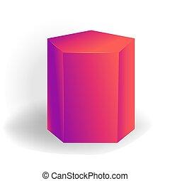 holographic, 勾配, -, 隔離された, 1(人・つ), pentagonal, 形, ベクトル, 背景, 幾何学的, 3d, 白, プリズム
