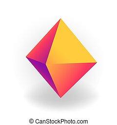 holographic, 勾配, -, 隔離された, octahedron, 形, ベクトル, 背景, 幾何学的, 白, 3d