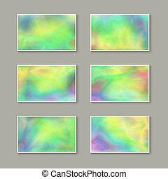 holographic, affari, effect., set, cartelle, elegante
