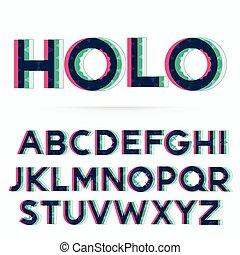 holographic alphabet font vector illustration