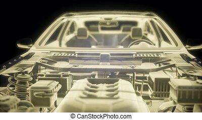 holographic, animatie, van, 3d, wireframe, auto, model, met, motor