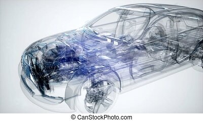 Holographic animation of 3D wireframe car model