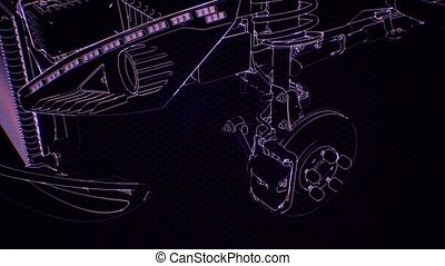 Holographic animation of 3D wireframe car model with engine and otter technical parts