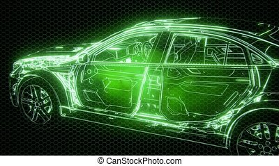 Holographic animation of 3D wireframe car model with engine...