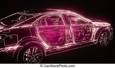 Holographic animation of 3D wireframe car model with engine