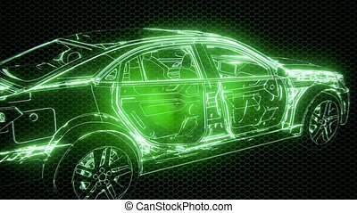 Holographic animation of 3D wireframe car model with engine ...