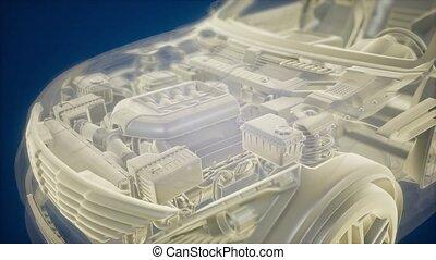 holographic, auto, model, 3d animatie, wireframe
