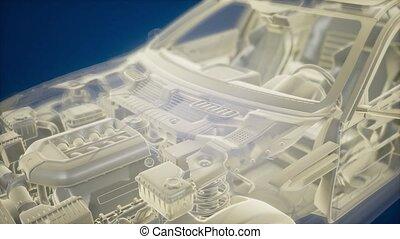 holographic, auto, wireframe, animatie, model, 3d