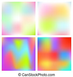Holographic blurred vector background. Iridescent foil rainbow art.