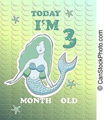 holographic, boy., trzy, miesiąc, tło., wektor, karta, kamień milowy, dziewczyna niemowlęcia, mermaid., albo, dzisiaj, old.
