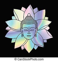 Holographic Buddha Head and Lotus