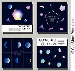 holographic, cartes., résumé, shapes., couverture, néon, incandescent, conception, brochure, prospectus, géométrique, cartes, templates.