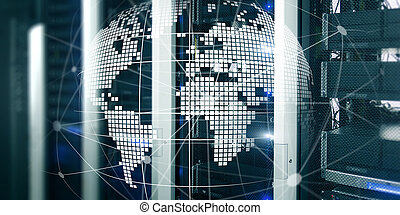 holographic, centre, banner., technologie, concept.,...
