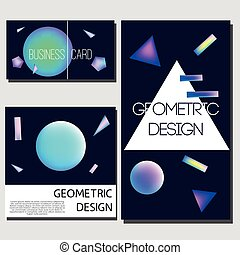 holographic, géométrie, néon, résumé, shapes., couverture, incandescent, éléments, conception, brochure, prospectus, géométrique, templates., cartes, cartes.
