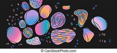 Holographic gradient spots on a black background. Modern vector illustration