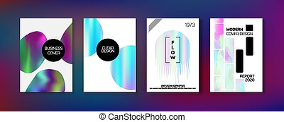 Holographic Gradient Vector Background. Hologram Business Soft Covers Set.