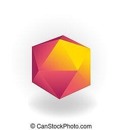 holographic, icosahedron, -, 隔離された, 勾配, 形, ベクトル, 背景, 幾何学的, 白, 3d
