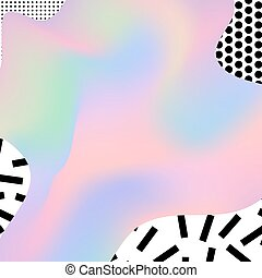 Holographic boho chic background with memphis geometric texture. Minimal creative printable journaling card, art print, design for banner, poster, flyer