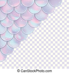 Holographic mermaid scales on a transparent background. Mermaid card decor element. Print design for posters, greeting cards, textile. Vector illustration