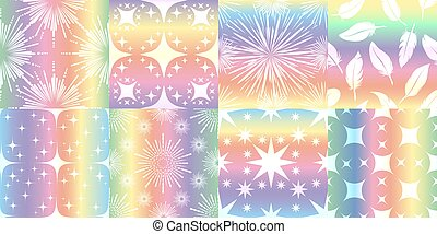 Holographic metalized patterns. Halographic texture vector gradients with elegant patterns set, luminous metallic foil glitter rainbow cards