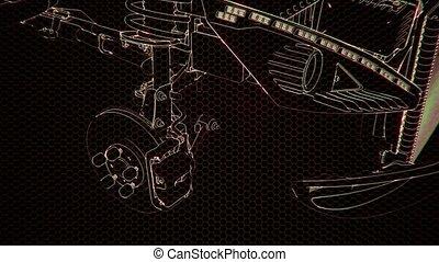 holographic, modèle, moteur, wireframe, 3d animation, voiture