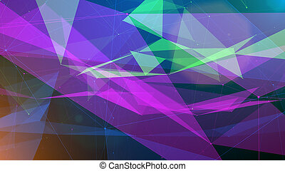 An optical art 3d rendering of multidimensional surfaces covered with triangular, square and hexagon crystal looking structures shining futuristically and mysteriously.