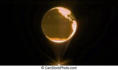 holographic, projecteur, glitch, technologie, futuriste, la terre, mondiale, hologramme, boucle, sci-fi